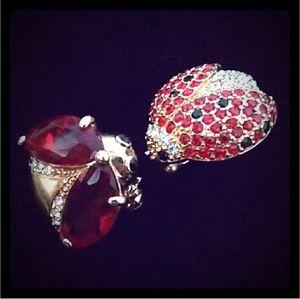 RARE VTG Monet Ruby Rhinestone Ladybug Brooch Pin2